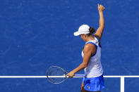 Ashleigh Barty, of Australia, acknowledges the crowd after defeating Jil Teichmann, of Switzerland, in the women's single final of the Western & Southern Open tennis tournament Sunday, Aug. 22, 2021, in Mason, Ohio. (AP Photo/Aaron Doster)
