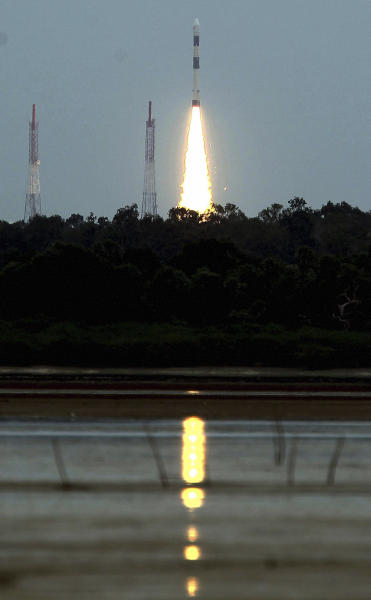 India's Polar Satellite Launch Vehicle PSLVC-21 lifts off, carrying one French and one Japanese satellite from a launch pad in Sriharikota, southern India, Sunday, Sept. 9, 2012. The launch marked the 100th mission for the Indian Space Research Organization (ISRO). (AP Photo) INDIA OUT