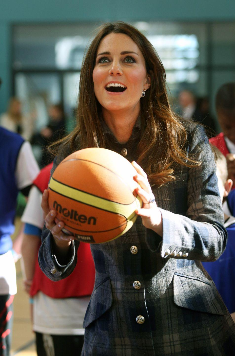 <p>While pregnant, Kate tried her hand at basketball on a visit to Glasgow. </p>