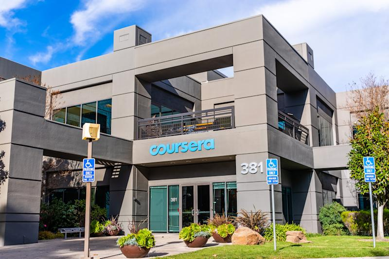 Dec 27, 2019 Mountain View / CA / USA - Coursera headquarters in Silicon Valley; Coursera is an American online learning platform that offers massive open online courses, specializations, and degrees