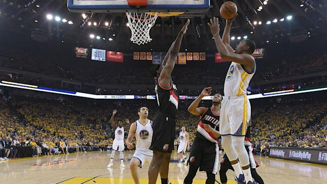 There were contrasting results for respective top seeds the Golden State Warriors and the Boston Celtics in the NBA playoffs.