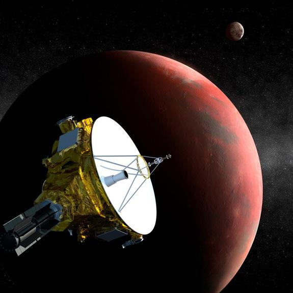 Artist's concept of NASA's New Horizons probe flying past the dwarf planet Pluto on July 14, 2015. New Horizons crossed the orbit of Neptune on Aug. 25, 2014, 25 years to the day after NASA's Voyager 2 spacecraft flew by the distant blue planet