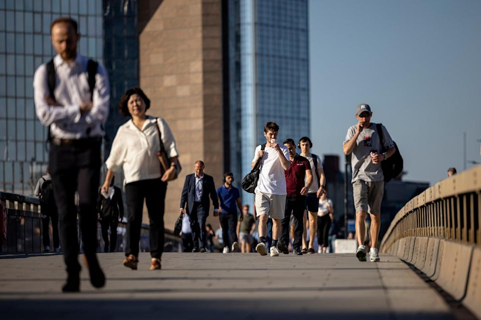 Morning commuters cross London Bridge on Monday (Getty Images)