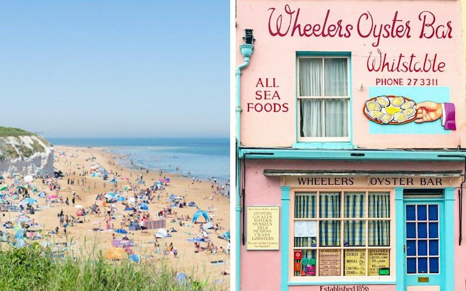 sandy beach and blue sea; pink frontage of wheelers oyster bar - iStock/Getty