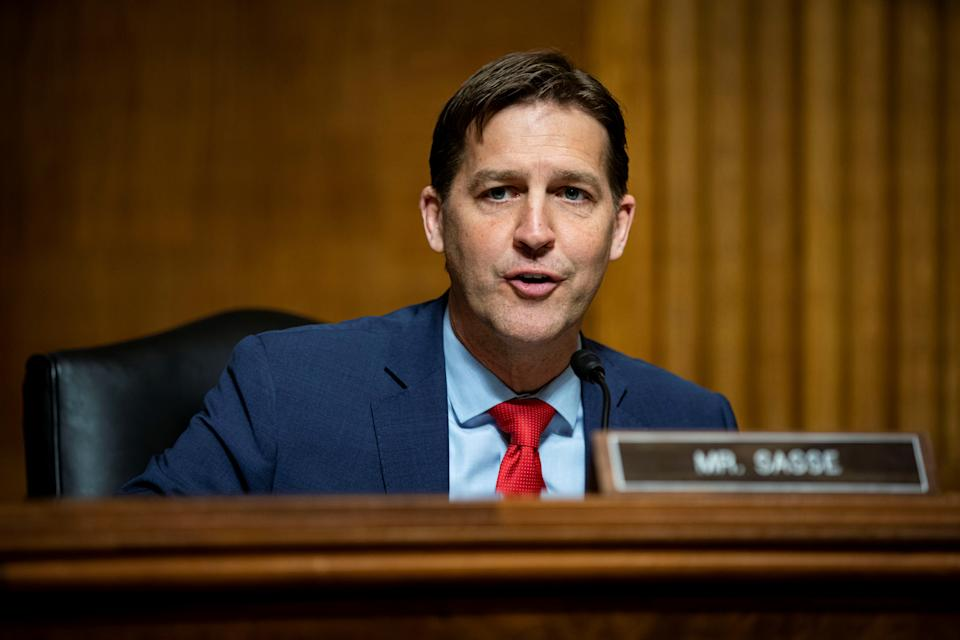 U.S. Senator Ben Sasse (R-NE), ranking member of the Senate Judiciary Subcommittee on Privacy, Technology, and the Law, speaks during a hearing in Washington, D.C., U.S., April 27, 2021. (Al Drago/Pool via Reuters)