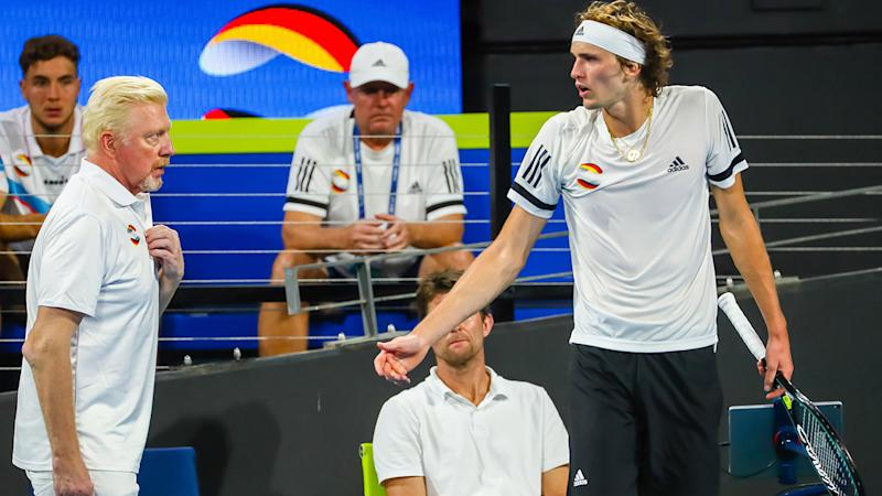 Alexander Zverev and Boris Becker, pictured here arguing at the ATP Cup.
