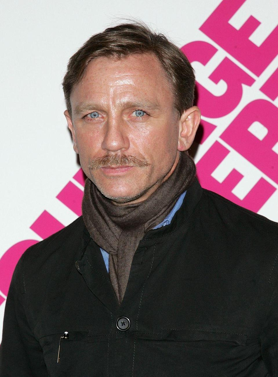 <p>With a mustache, Craig resembles one of Bond's many villains. </p>