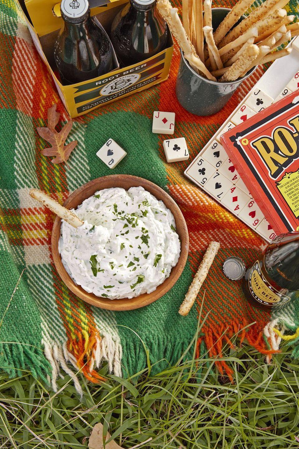 "<p>Goat cheese brings a little creamy funk to the (snack) table.</p><p><em><a href=""https://www.countryliving.com/food-drinks/a24407621/herbed-goat-cheese-dip-recipe/"" rel=""nofollow noopener"" target=""_blank"" data-ylk=""slk:Get the recipe from Country Living »"" class=""link rapid-noclick-resp"">Get the recipe from Country Living »</a></em></p>"