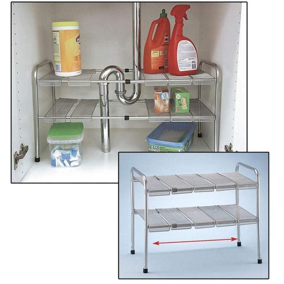 <p>Keep all your cleaning products organized with the <span>Atb 2-Tier Under Sink Shelf Storage Shelves</span> ($39). The shelves feature moving slates are adjustable and expandable, so they perfectly fit in your space.</p>