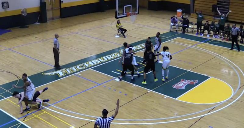 Division III basketball player takes flagrant shot at opponent's head
