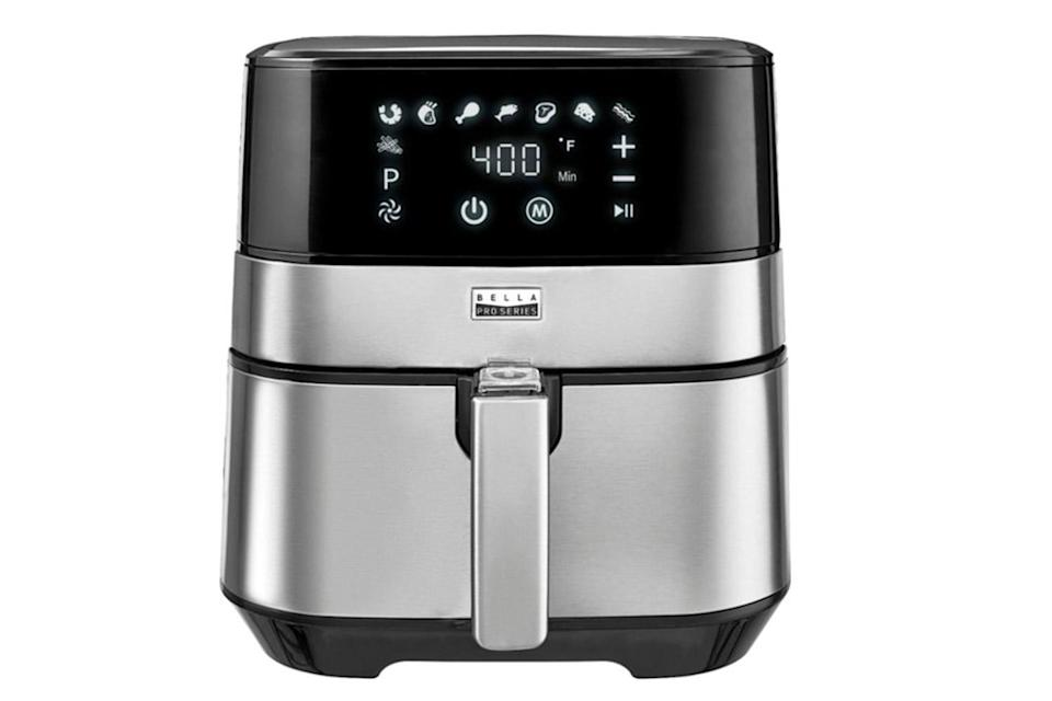 """<p>Air fryers have quickly become a kitchen staple, so make sure the foodie in your life is stocked with one that has all the bells and whistles. The Bella Touchscreen Air Fryer is easy to use with one-touch preset options and eight preset menu options — <em>and </em>it looks sleek enough to sit out on your counter top. </p> <p><strong>Buy It</strong>! Bella 5.3 QT Touchscreen Air Fryer, $149.99; <a href=""""https://www.bestbuy.com/site/bella-pro-series-5-3-qt-digital-air-fryer-stainless-steel/6261441.p?skuId=6261441"""" rel=""""nofollow noopener"""" target=""""_blank"""" data-ylk=""""slk:bestbuy.com"""" class=""""link rapid-noclick-resp"""">bestbuy.com</a></p>"""