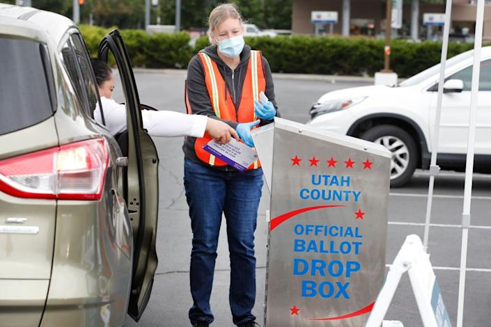A drop box in Utah which has moved to postal ballots during the pandemic