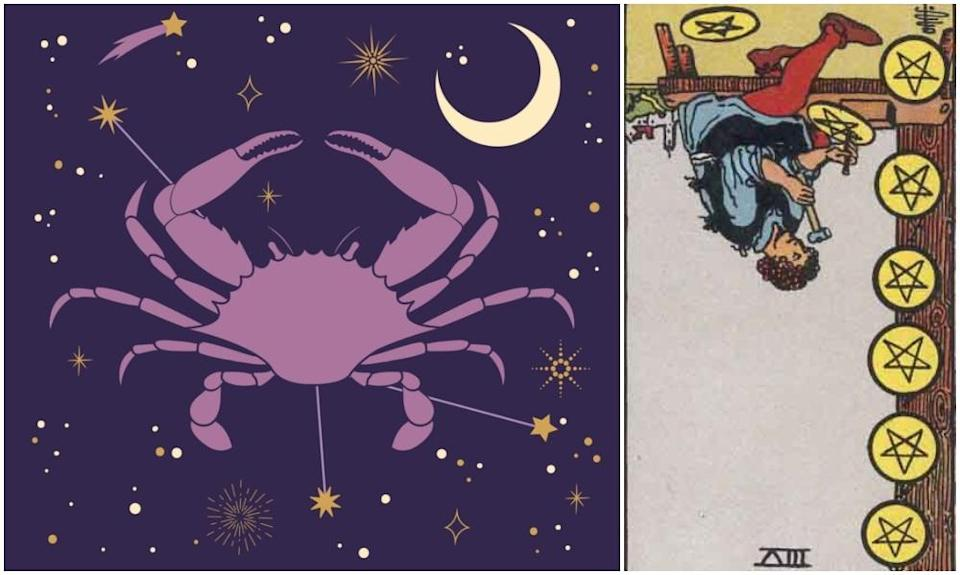 Cancer star sign, at left and Eight of Pentacles card in reverse, at right. Photos: Mixkit, Wikimedia Commons