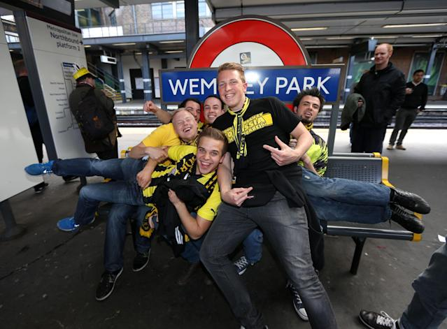 Borrussia Dortmund's fans at Wembley Park tube station before the Champions League Final at Wembley, London.