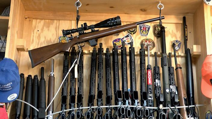 A rack of rifles are shown inside a New Jersey gun shop in July 2020. A two-year set of Alcohol, Tobacco, Firearms and Explosives records found many of the weapons dealers recommended to lose their licenses instead kept them. The New Jersey shop was not cited in the records reviewed by reporters. (Thomas P. Costello/Asbury Park Press)