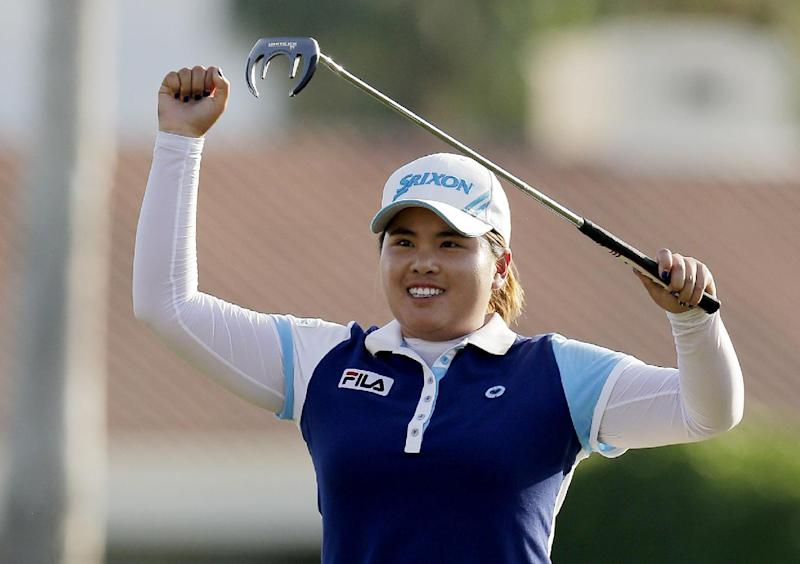 Inbee Park, of South Korea, reacts after winning the LPGA Kraft Nabisco Championship golf tournament in Rancho Mirage, Calif., Sunday, April 7, 2013. (AP Photo/Chris Carlson)