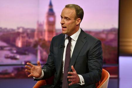 Dominic Raab MP, former Brexit Secretary appears on BBC TV's The Andrew Marr Show in London, Britain, May 26, 2019. Jeff Overs/BBC/Handout via REUTERS