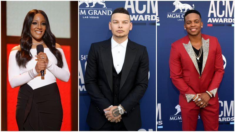 Mickey Guyton speaks onstage at the 56th Academy of Country Music Awards on April 18, 2021 in Nashville, Tennessee; Kane Brown attends the 54th Academy Of Country Music Awards on April 07, 2019 in Las Vegas, Nevada; Jimmie Allen at the 54th Academy Of Country Music Award on April 07, 2019 in Las Vegas, Nevada.