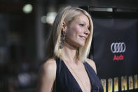 """Gwyneth Paltrow arrives for the premiere of """"Iron Man"""" in Los Angeles on Wednesday, April 30, 2008. (AP Photo/Matt Sayles)"""