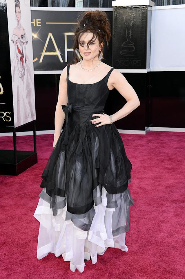 Helena Bonham Carter arrives at the Oscars in Hollywood, California, on February 24, 2013.