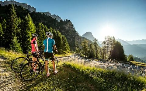 Cyclists in Alta Badia
