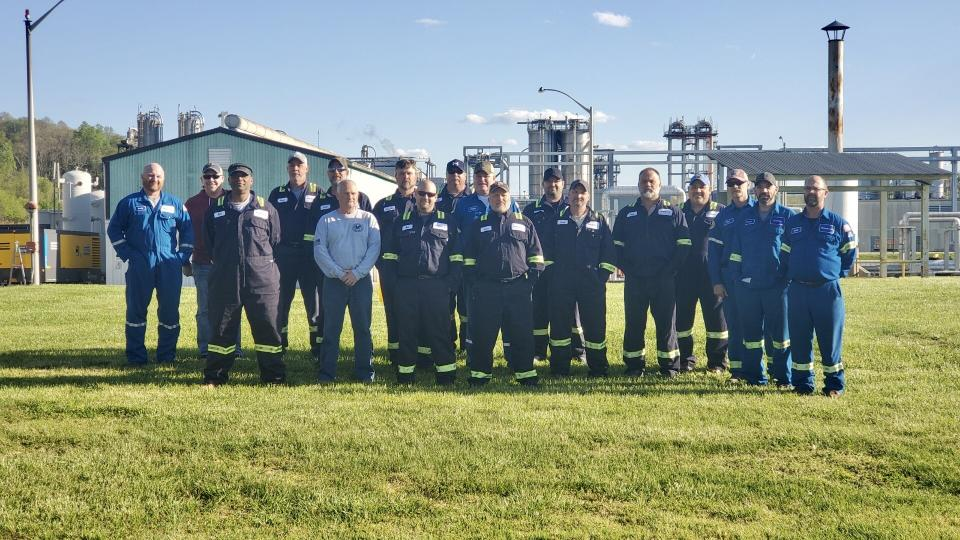 One of the rotating 12-hour shift crews at the Braskem America plant in Neal, West Virginia that participated in a 28-day live-in to produce polypropylene, a material used in personal protective equipment. (photo courtesy of Braskem America)