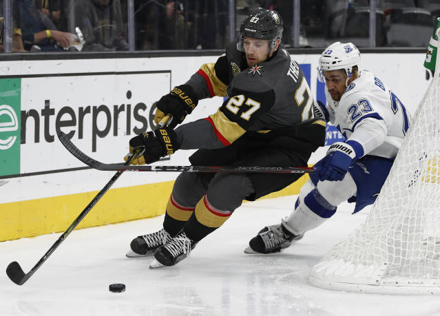 "Vegas Golden Knights defenseman <a class=""link rapid-noclick-resp"" href=""/nhl/players/6005/"" data-ylk=""slk:Shea Theodore"">Shea Theodore</a>, a popular preseason breakout candidate, is starting to perform. (AP Photo/John Locher)"
