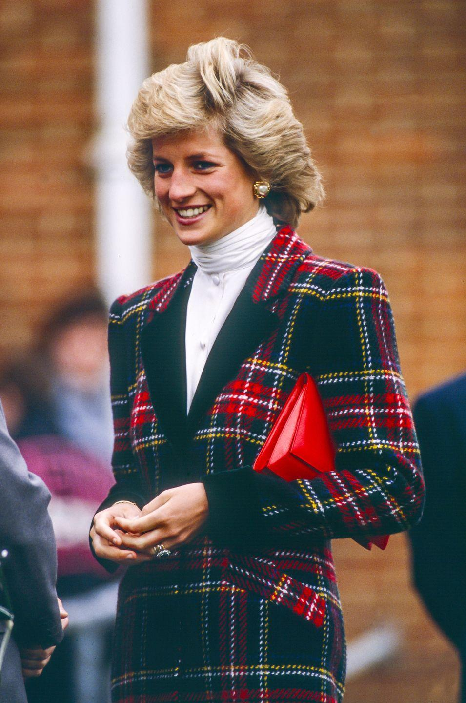 <p>This plaid jacket Diana wore in January 1989 combined red <em>and</em> green for one truly festive outfit. </p>