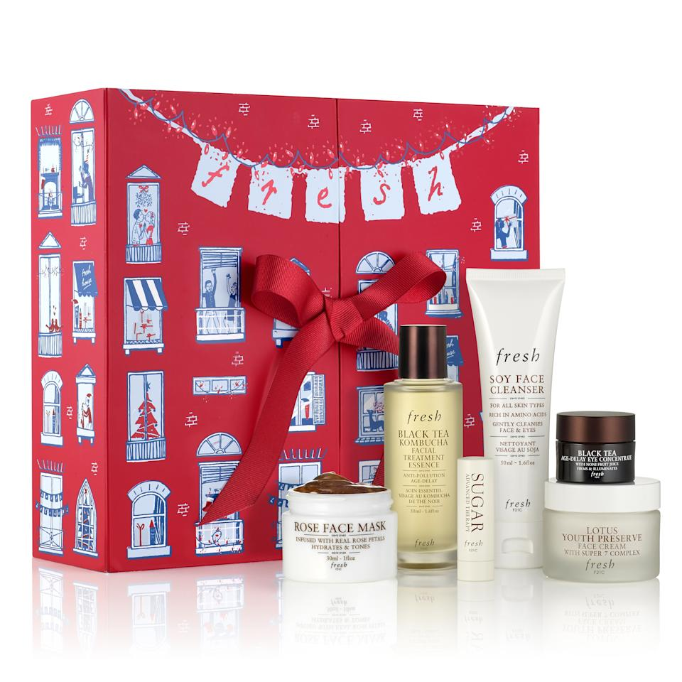 "<p>What better time than the holiday season to expose your friends and family to Fresh's rich, signature rose-scented products? Its take on the advent calendar might only feature six items, but they're all full sizes and offer a full skin-care routine in one box.</p> <p><strong>$99</strong> (<a href=""https://www.fresh.com/us/6-days-of-surprises-gift-set-H00005334.html"" rel=""nofollow"">Shop Now</a>)</p>"