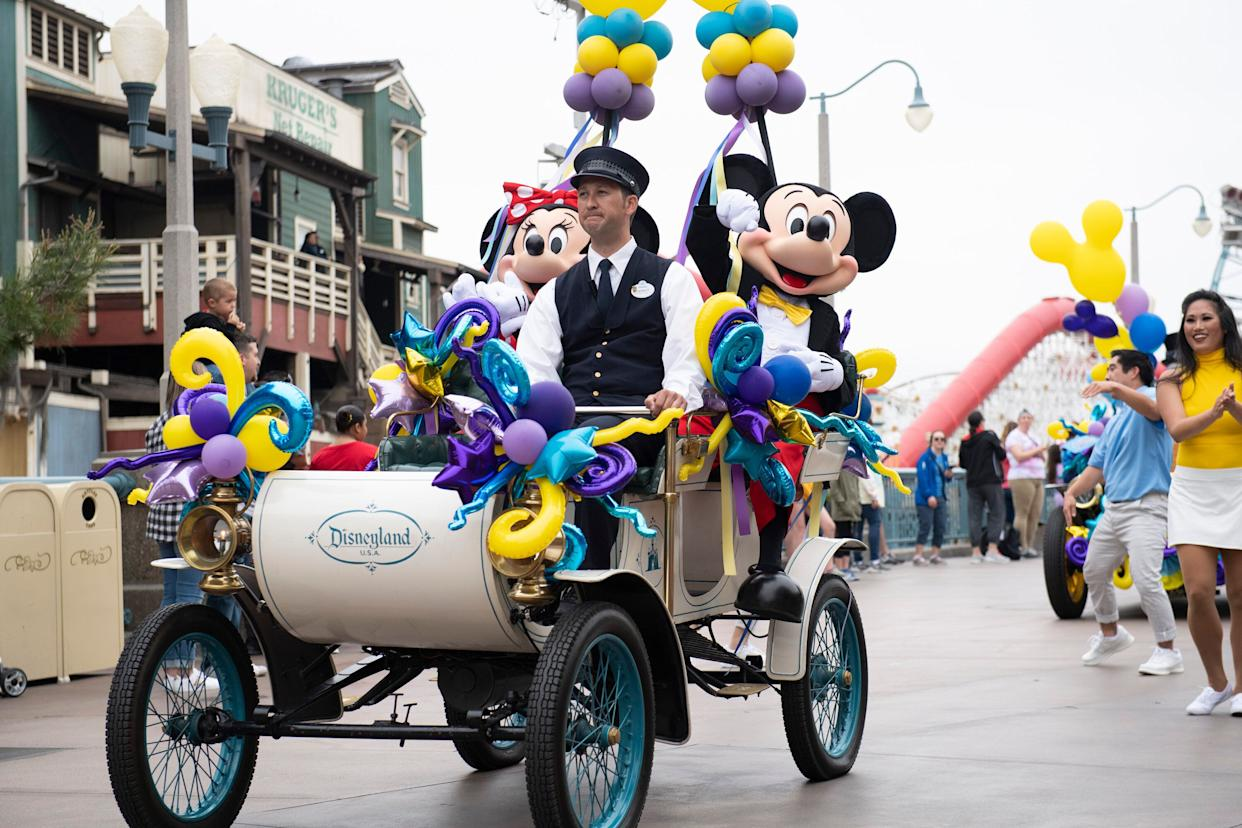 Disney topped consensus expectations for fiscal second-quarter results. (Image Group LA via Getty Images) MINNIE MOUSE, MICKEY MOUSE