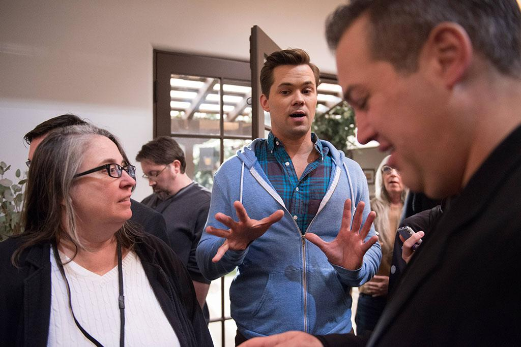 "Andrew Rannells on the set of ""The New Normal."""