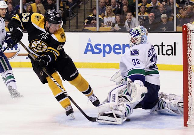 BOSTON, MA - JANUARY 07: Brad Marchand #63 of the Boston Bruins scores in the first period on Cory Schneider #35 of the Vancouver Canucks on January 7, 2012 at TD Garden in Boston, Massachusetts. (Photo by Elsa/Getty Images)