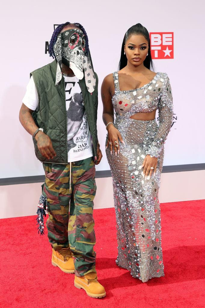 : (L-R) Lil Uzi Vert and JT of City Girls attend the BET Awards 2021