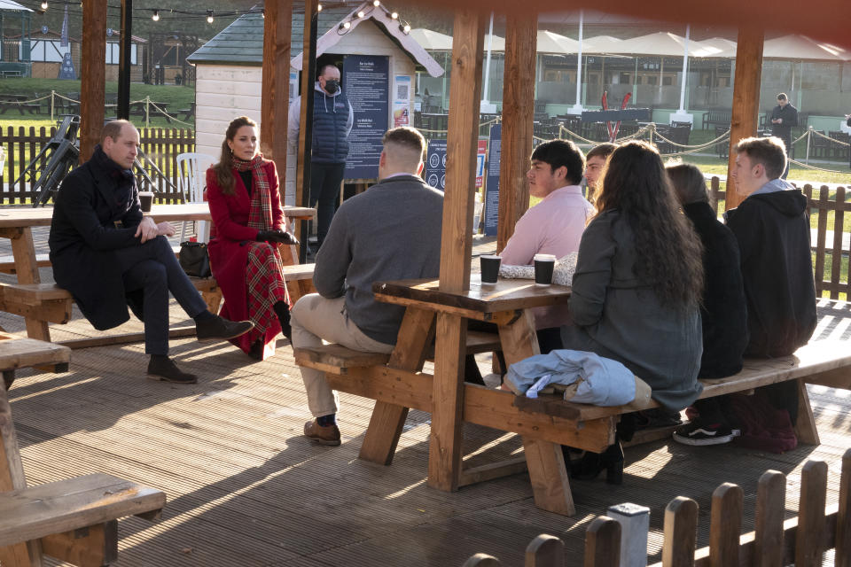 CARDIFF, WALES - DECEMBER 08: Prince William, Duke of Cambridge and Catherine, Duchess of Cambridge visit Cardiff Castle to meet local university students and hear about some of the challenges they have experienced during the pandemic, with a particular focus on mental health on December 08, 2020 in Cardiff, Wales. The Duke and Duchess are undertaking a short tour of the UK ahead of the Christmas holidays to pay tribute to the inspiring work of individuals, organizations and initiatives across the country that have gone above and beyond to support their local communities this year. (Photo by Jonathan Buckmaster - Pool / Getty Images)