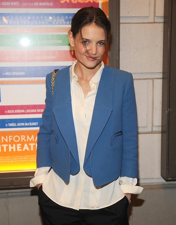 "NEW YORK, NY - JANUARY 10:Actress Katie Holmes attends ""The Other Place"" Broadway opening night at Samuel J. Friedman Theatre on January 10, 2013 in New York City.  (Photo by Brad Barket/Getty Images)"