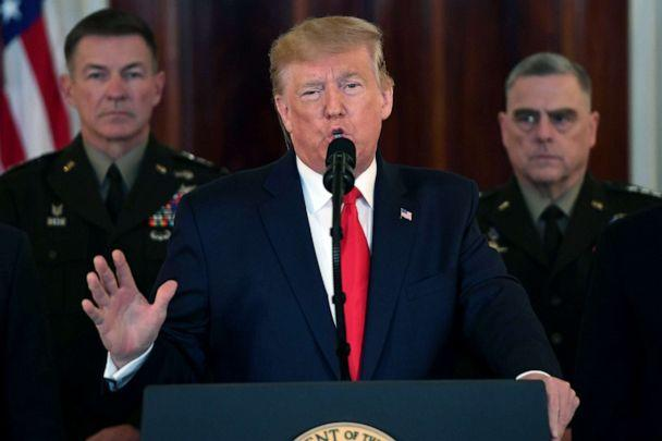 PHOTO: President Donald Trump speaks about the situation with Iran in the Grand Foyer of the White House in Washington, DC, Jan. 8, 2020. (Saul Loeb/AFP via Getty Images)