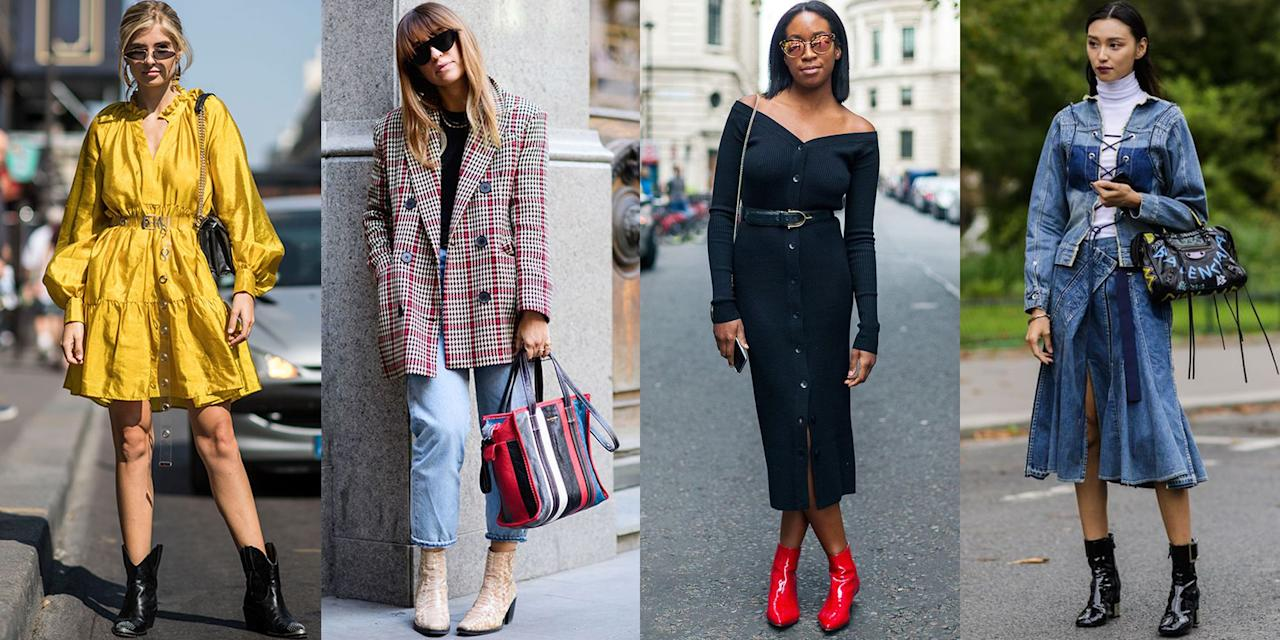 <p>It's officially time to start transitioning your wardrobe from summer to fall. And if there's one staple your closet needs, it's the versatile ankle boot. Perfect to wear with dresses, skirts, and jeans, and featuring details from stiletto heels to Western influences, booties are the ultimate footwear MVP. Get inspired by some of this season's hottest ways to wear ankle boots. </p>