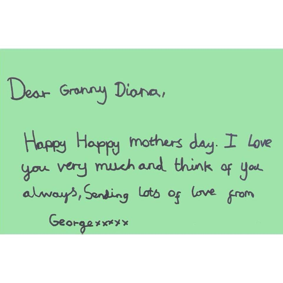 Prince George's Mother's Day card for Princess Diana