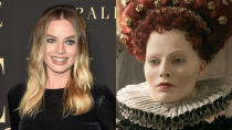 The <em>Once Upon a Time in Hollywood</em> star transformed into the white-faced Queen Elizabeth I in <em>Mary Queen of Scots</em>. (Credit: Axelle/Bauer-Griffin/FilmMagic/Universal)