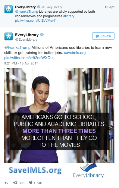 Ivanka Trump Tweets In Support of Libraries — Even Though Her Father Is Defunding Them