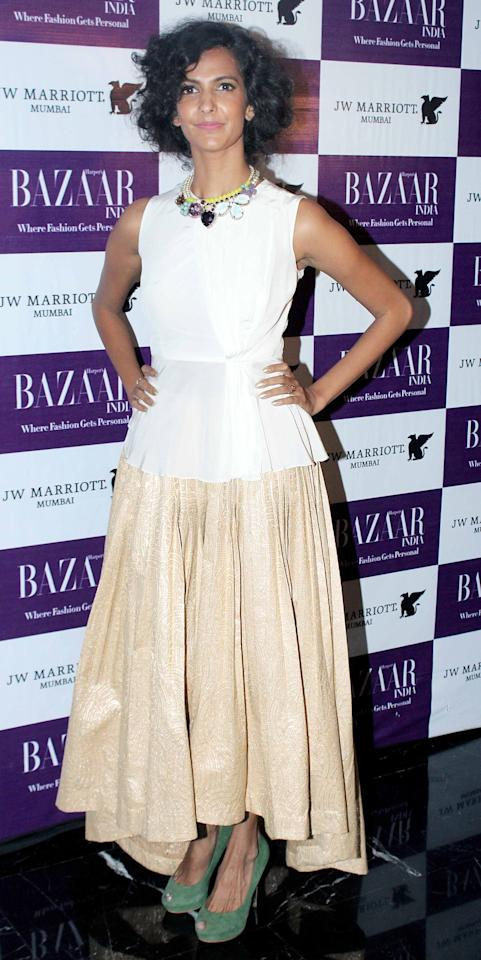 A nude shaded skirt for Poorna.