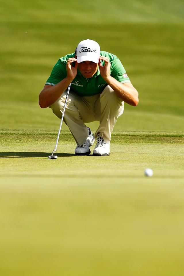 CHARLOTTE, NC - MAY 05: Nick Watney of the United States lines up his putt on the 15th hole during the third round of the Wells Fargo Championship at the Quail Hollow Club on May 5, 2012 in Charlotte, North Carolina. (Photo by Mike Ehrmann/Getty Images)
