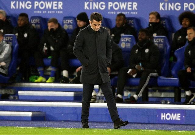A run of two wins in 10 matches has heaped pressure on Everton manager Marco Silva going into the Merseyside derby (Nigel French/PA Images).