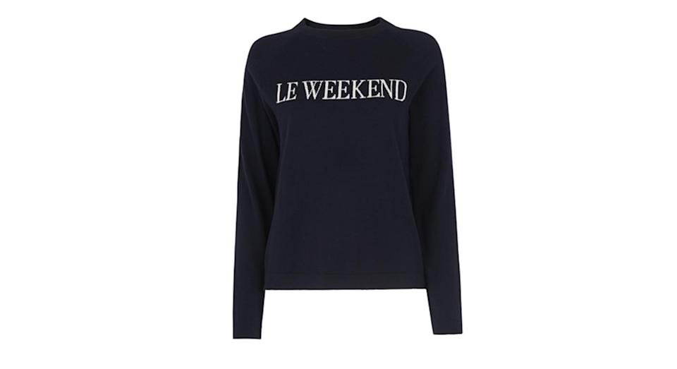 """<p>Slogan sweaters are still going strong, and this Whistles version is at the top of our shopping list. <a rel=""""nofollow noopener"""" href=""""http://www.whistles.com/women/new-in/le-weekend-sweater-27033.html?cgid=NewIn_WW&dwvar_le-weekend-sweater-27033_color=Navy#sz=60&start=0"""" target=""""_blank"""" data-ylk=""""slk:Buy here."""" class=""""link rapid-noclick-resp""""><em>Buy here.</em></a> </p>"""