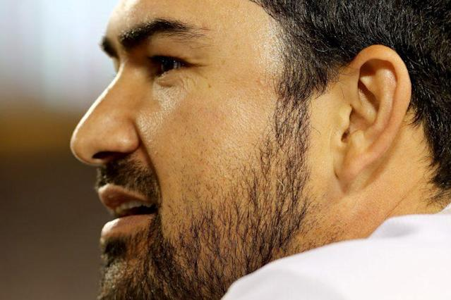 One news station had a tough time with Adrian Gonzalez's name. (Getty Images/Sean M. Haffey)
