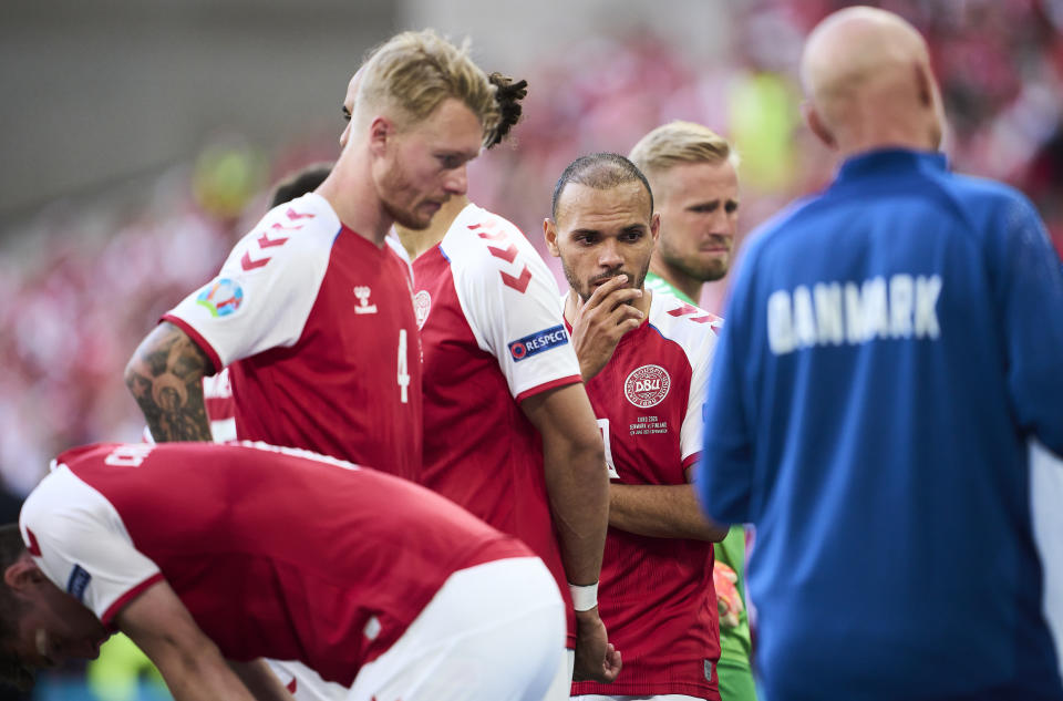 Denmark had no choice, quite literally, but to finish its match after Christian Eriksen collapsed either the same night or the next day. That's not good enough. (Photo by Lars Ronbog / FrontZoneSport via Getty Images)