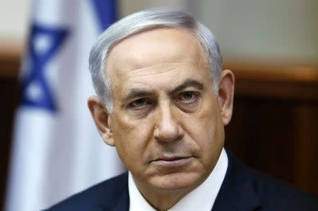 Israel's Prime Minister Benjamin Netanyahu attends the weekly cabinet meeting at his office in Jerusalem