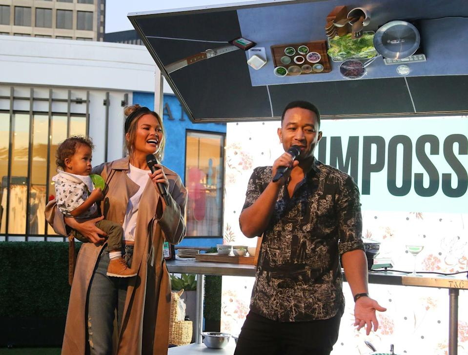 <p>The couple were joined by their adorable son Miles for the Impossible Foods Grocery LA launch.</p>