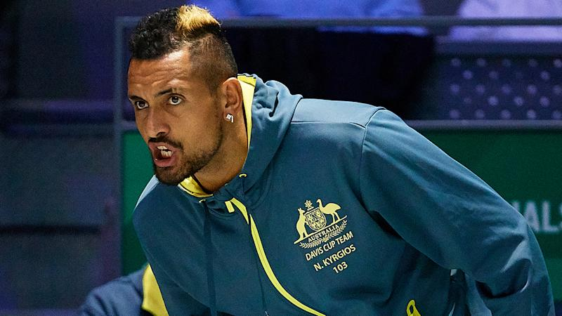 Nick Kyrgios of Australia cheers up during Day Four of the 2019 Davis Cup at La Caja Magica on November 21, 2019 in Madrid, Spain. (Photo by David Aliaga/MB Media/Getty Images)