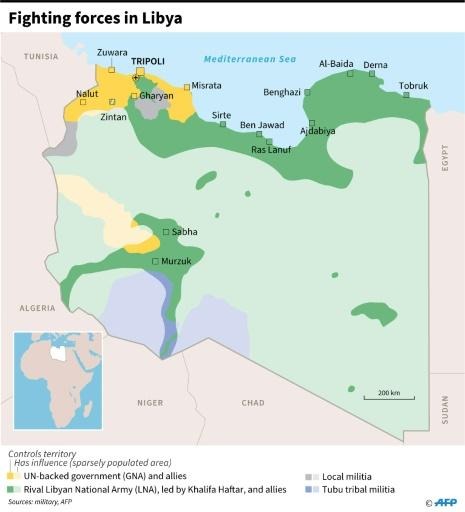 Map showing the positions of forces fighting in Libya, as of June 3